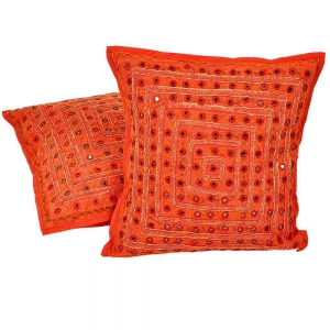 Mirror Lace Work Cotton Cushion Cover 2 Pc Set Jaipuri Cushion Cover DLI4CUS806