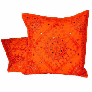 Hand Embroidered Cotton Cushion Cover 2 PcSet Jaipuri Cushion Cover DLI4CUS822