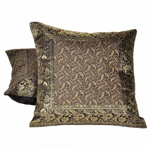 Golden Jacquard Silk Cushion Cover 2 Pc Set Jaipuri Cushion Covers DLI4CUS823