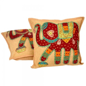 Hand Embroidered Patchwork Cushion Cover Pair Jaipuri Cushion Covers DLI4CUS826