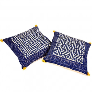 Jaipuri Handblock Gold Print Cushion Cover Pair Cotton Cushion Cover DLI4CUS848