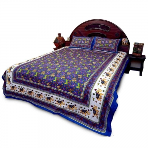 Rajasthani Pure Cotton Blue Double Bed Sheet with Pillow Covers Set DLI4DBS27B