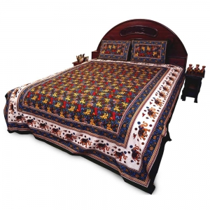 Jaipuri Pure Cotton Double Bed Sheet Set with Matching Pillow Covers DLI4DBS27G
