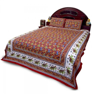 New Designer Pure Coton Jaipuri Red Double Bedsheet Pillow Covers Set DLI4DBS27R