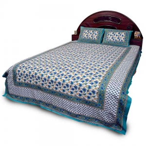 Ethnic Rajasthani Print Colorful Pure Cotton Double Bedsheet Set DLI4DBS356