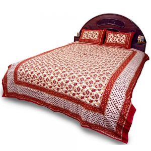Sanganeri Design Red and White Pure Cotton Double Bedsheet and Pillow Set DLI4DBS360