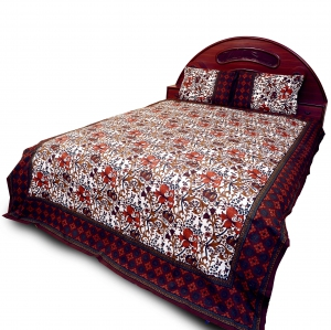Ethnic Bagru Floral Designer Multicolor Cotton Double Bedsheet Set DLI4DBS703