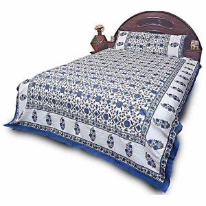 Colorful White and Blue Jaipuri Cotton Designer Double Bedsheet Set DLI4DBS712