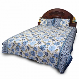 Bagru Hand Block Print Pure Cotton Designer Double Bedsheet Set DLI4DBS715
