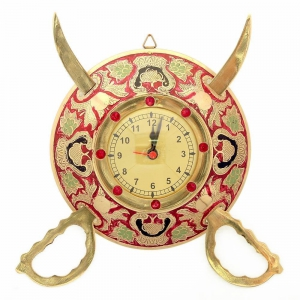 Rajasthani Real Brass Metal Sword And Armour Decorative Wall Clock  DLI4HCF107