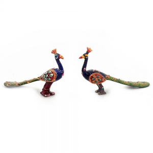 Pure Brass Handpainted Peacock Pair Handicraft Decorative Item DLI4HCF152