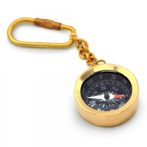 Antique Brass Metal Glossy Finish Handcrafted Compass in Keychain  DLI4HCF161