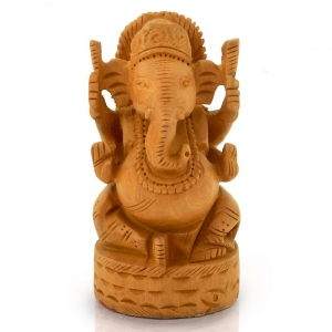Fine Carved Lord Ganesha Design Wooden Gift Wooden Decorative Item DLI4HCF167