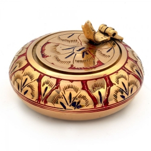 Decorative Pure Brass Meenakari Work Ash Tray Handicraft Gift Item DLI4HCF203