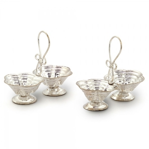 Silver Polished Handcrafted Stylish Cute Double Dia Baati Stand Pair DLI4HCF229