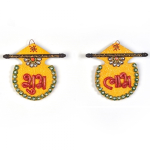 Designer Traditional Kundan Cute Matki Shape Shubh Labh Door Hanging DLI4HCF255