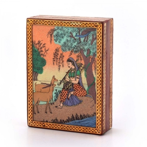 Jaipuri Gemstone Artistic Meera Painting Graceful Wooden Jewelry Box DLI4HCF256