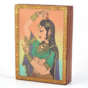 Rajasthani Handicraft Wooden Jewelry Box Gemstone Meera Painting DLI4HCF258