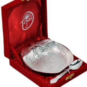 Silver Polished Adorable Handicraft Apple Shape Brass Bowl with Spoon DLI4HCF273