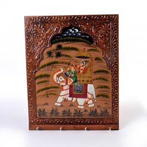 Wooden Handcarved and Hand Painted Fashionable Trendy Four Key Stand DLI4HCF297