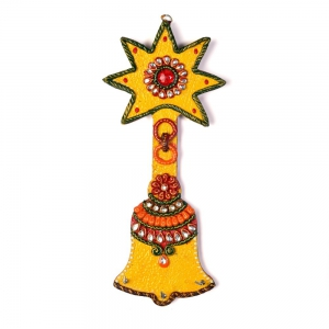 Wooden Handmade Fine Finished Kundan Meenakari Artwork Bell Key Stand DLI4HCF325