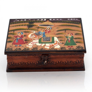 Wooden Hand Painted Charming Dhola Maru Fascinating Cute Jewelery Box DLI4HCF330