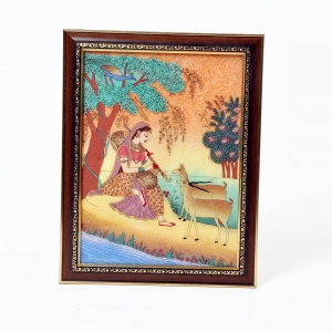 Meera Playing Sitar and Forest Wooden Frame Classic Gemstone Painting DLI4HCF344
