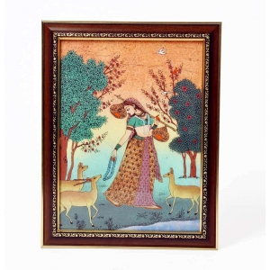 Sitar Playing Meera With Dears Traditional Rajasthani Wooden Painting DLI4HCF345