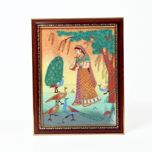 Meera Playing With Peacock Rajasthani Conventional Gemstone Painting DLI4HCF346