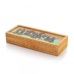 Hand Carved Gemstone Painted Ethnic Fashionable Wooden Jewellery Box DLI4HCF354
