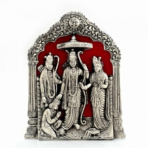 Antique Rajasthani Spiritual Lord Ram Darbar Idol In Fine White Metal DLI4HCF360