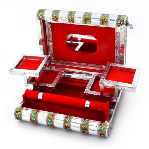 New Designer Colorful Meenakari Work Decorative Red Jewellery Box DLI4HCF370
