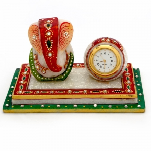 Modern And Stylish Meenakari Ganesha Marble Chowki And Table Watch Set DLI4HCF376