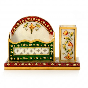 Floral Design Meenakari Marble Made Pen Stand And Visiting Card Holder  DLI4HCF381