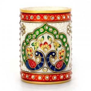 Golden Meenakari Mayur Design White Marble Fashionable Pen Stand DLI4HCF386