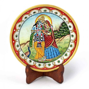 Gold Meenakari Radha Krishna Beautiful Plate Marble Made Gift Item DLI4HCF396