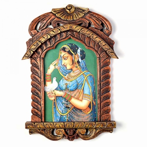 Rajasthani Princess With Pigeon Designer Wooden Jharokha Painting  DLI4HCF412