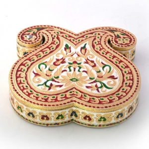 Traditional Double Paisley Design Decorative Meenakari Dryfruit Box DLI4HCF429