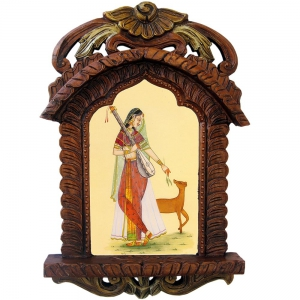 Lovely Lady Playing Sitar With Deer Ethnic Wooden Jharokha Showpeice DLI4HCF436