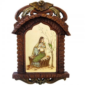 Beautiful Lady Feeding Parrot Termite Proof Wooden Jharokha Gift  DLI4HCF439