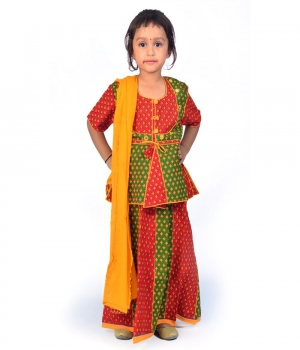 Rajasthani Red n Green Color Traditional Booti Work Lehnga Kurti Set DLI4GED103D