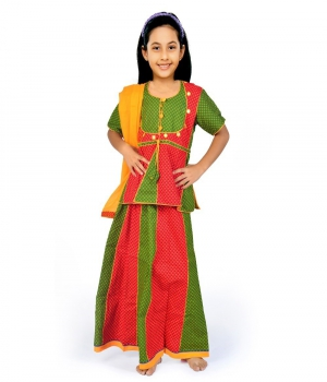 Rajasthani Design Red n Green Color Girls Ethnic Lehenga Kurti Dress DLI4GED105A