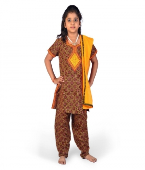 Fashionable Bagru Design Girls Rajasthani Cotton Salwar Suit Dress DLI4GED110C