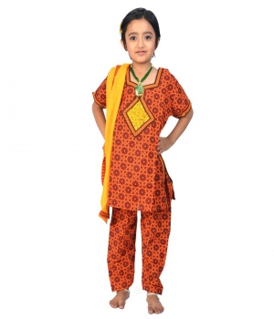 Rajasthani Bagru Design Girls Fashionable Cotton Salwar Suit Dress DLI4GED111A