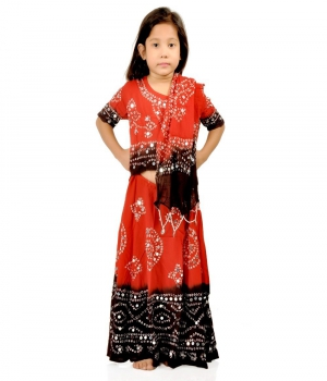Rajasthani Bandhej Design Girls Red n Brown Colour Lehenga Choli Set DLI4GED118A