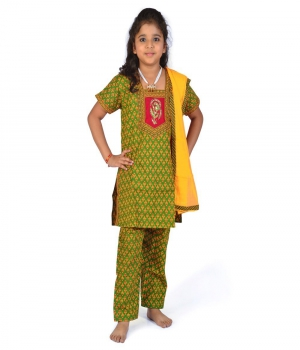 Bagru Design Rajasthani Green n Yellow Pure Cotton Salwar Suit Dress DLI4GED122C