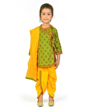 Designer Green n Yellow Girls Rajasthani Pattern Dhoti Angrakha Set DLI4GED202D