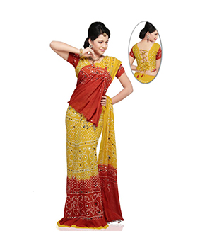 Rajasthani Ethnic Yellow Red Tie n Dye Long Cotton Lehanga Choli Set DLI4LEDA301