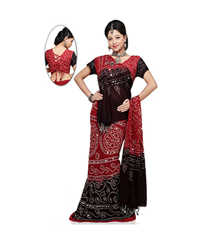 Sequin Work Jaipuri Bandhej Red Black Pure Cotton Lehanga Choli Set DLI4LEDA305