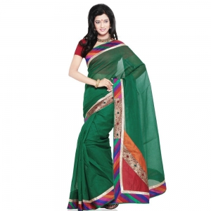 Ethnic Super Net Pure Cotton Designer Green Saree with Blouse DLI4SRJ211